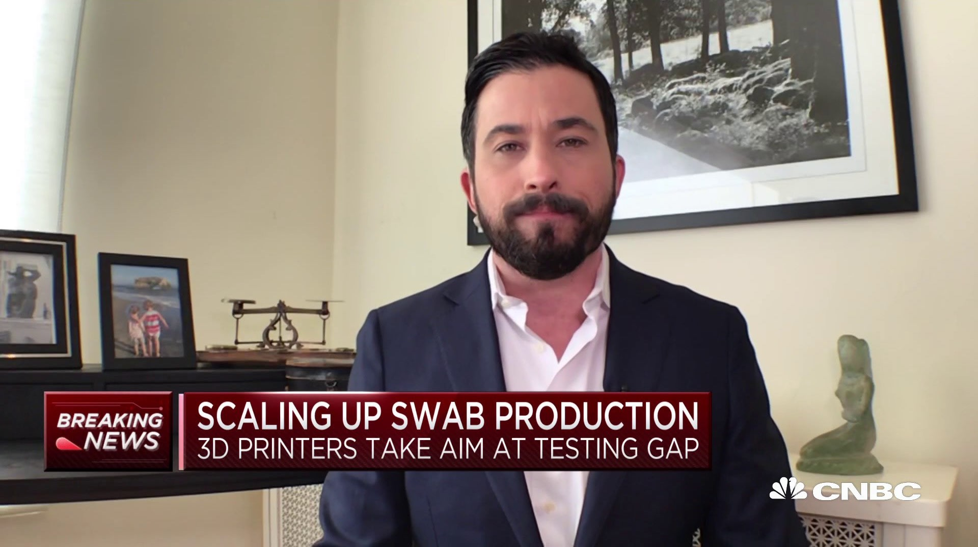 CNBC's Josh Lipton reporting on 3d printed test swabs